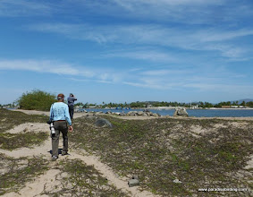 Photo: Completing our morning birding loop on Peso Island, looking across Estero del Pozo to San Blas