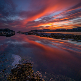 Norwegian sunset by Paulius Bruzdeilynas - Landscapes Waterscapes ( sony nex 6, clouds, bergen, water, sotra islnad, reflection, sony alpha, stone, rock, sony photography, sotra, sun, norway, sony, nex 6, norwegian, fresh, sunset, northsea, sundown, cloudy, weather, norge,  )