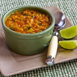 Mexican Red Lentil Stew with Lime and Cilantro.