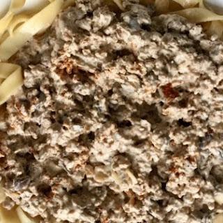 Mushroom Stroganoff with Boca Crumbles