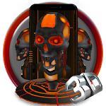 Red Robot Skull 3D Theme Icon