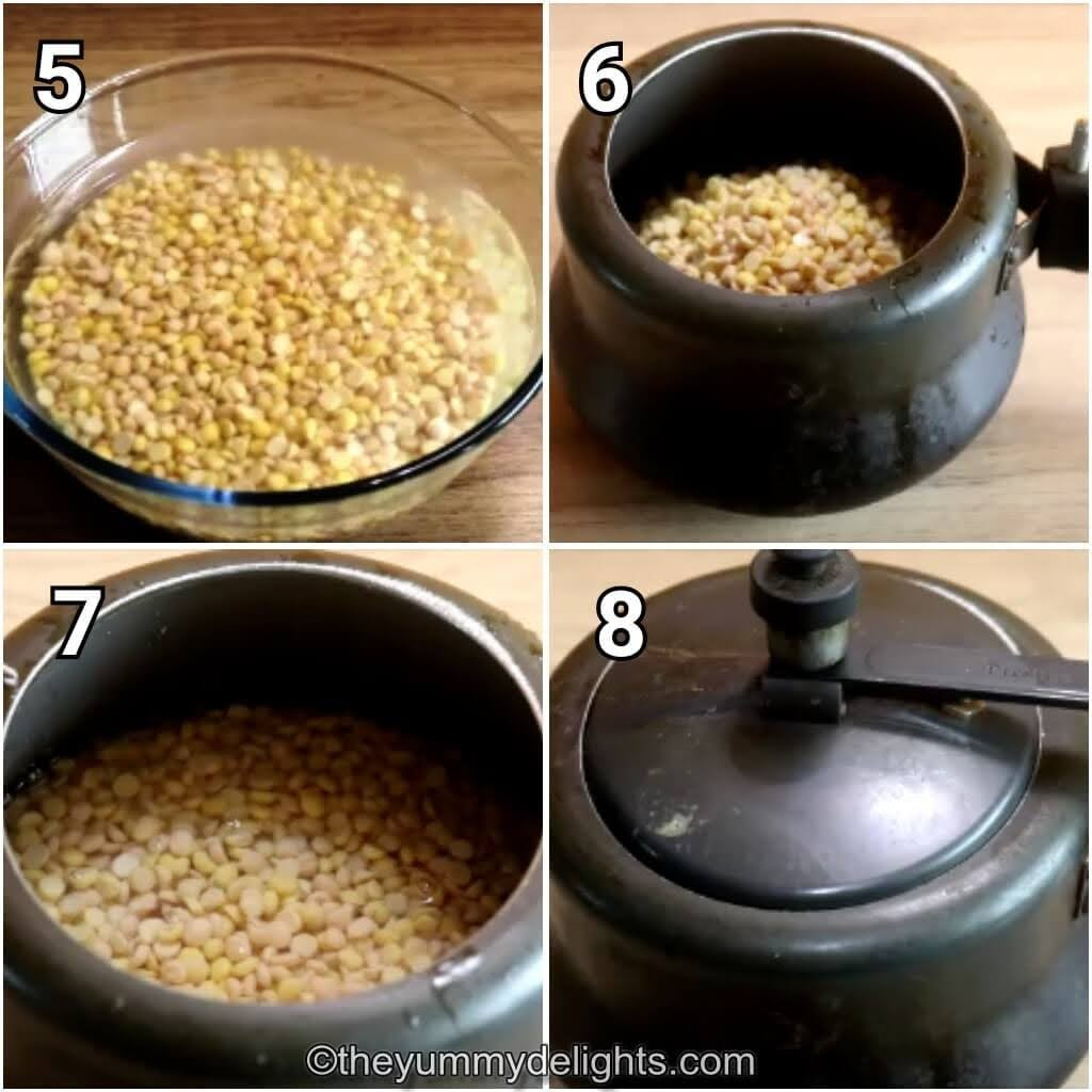 step by step image collage of cooking the chana dal in pressure cooker