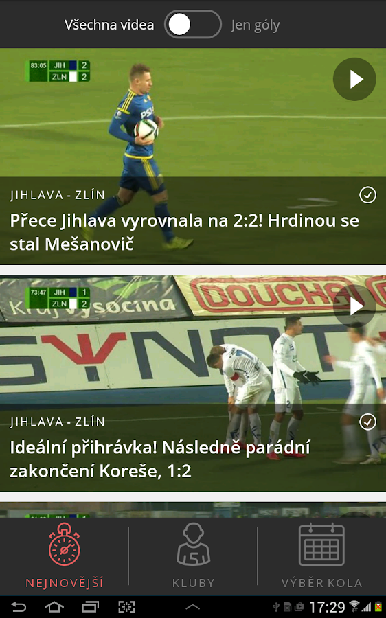Góly z ligy- screenshot