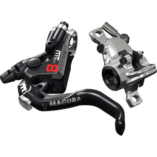 Magura MT8 Pro Disc Brake and 1-Finger Lever, Front or Rear with 2000mm Hose, Black,Red,Silver