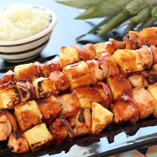 BBQ Chicken & Pineapple Kabobs.