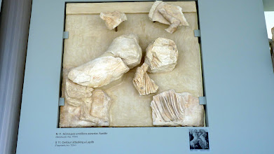 Photo: What's left of the statue-like reliefs on the metopes between the triglyphs of the Parthenon