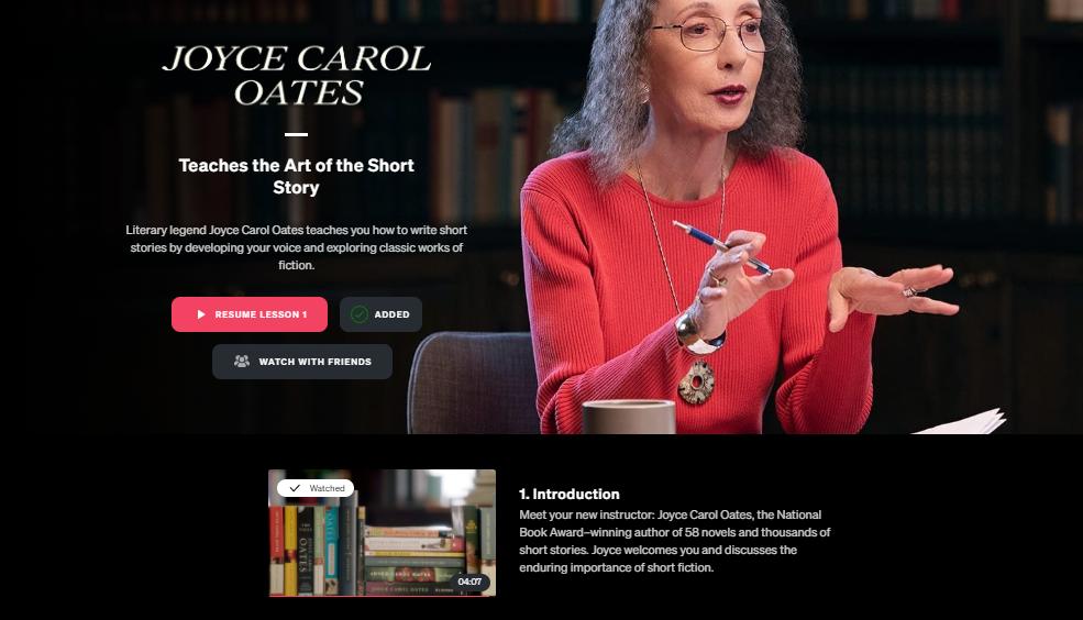 Joyce Carol Oates Masterclass review