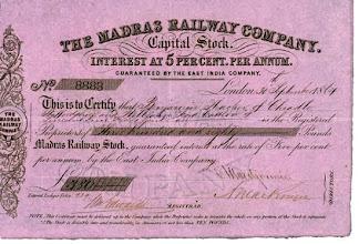 Photo: Madras Railway company - Capital stock document