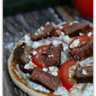 Greek Steak Pita Pizzas.