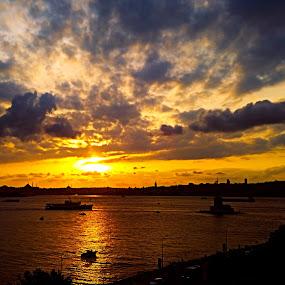 BOSPHORUS by Nihan Bayındır - Landscapes Sunsets & Sunrises ( reflection, freedom, silhouette, sunset, peace, boats, sea, landscape,  )