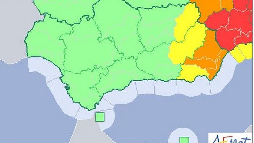 Mapa andaluz con el aviso naranja en las comarcas del Levante y el interior de Almería.