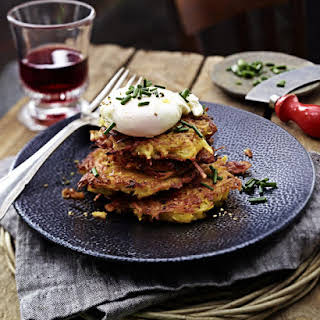 Potato and Bacon Rosti with Poached Eggs.