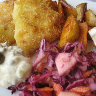 Panko Crusted Cod, Served With Spanish Smoked Paprika Potatoes and Red Cabbage Cole Slaw