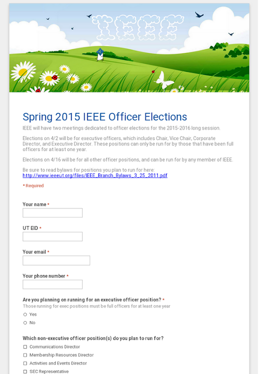 Spring 2015 IEEE Officer Elections