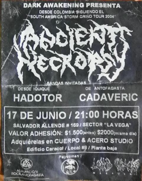 la primera banda de rock metal de medellín en tocar en Chile