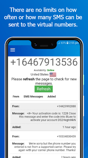 Virtual Number - SMS Receive Free Phone Numbers App Report on Mobile