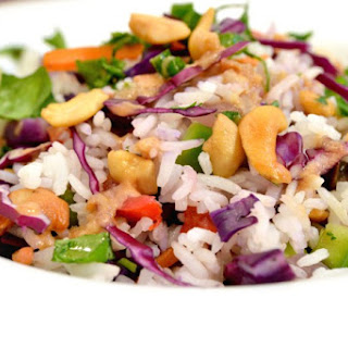 Coconut Rice Salad with Ginger Carrot Dressing.