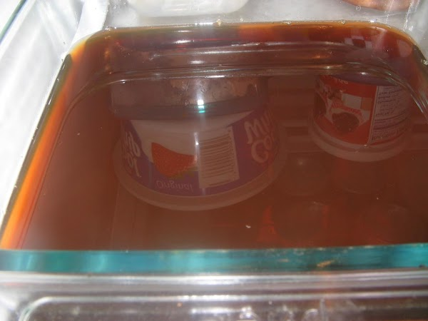 Pour mixture into an 8-inch square dish.Picture was taken while in the fridge..you can...