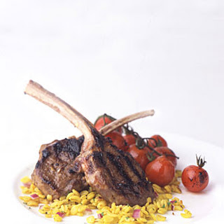 Grilled Marinated Lamb Chops with Balsamic Cherry Tomatoes.