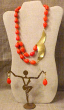Photo: <BEREHYNYA> {Great Goddess Protectress} unique one-of-a-kind statement jewellery by Luba Bilash ART & ADORNMENT  # 135ICARUS/ІКАР - brass pendant, orange turquoise, gold vermeil, 14K gold vermeil $160/set
