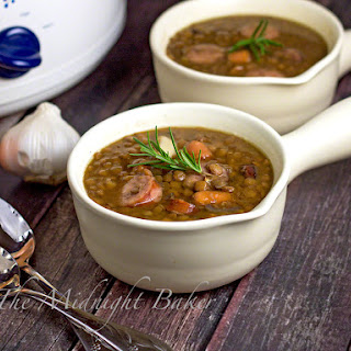 Slow Cooker Smoked Sausage Lentil Soup.
