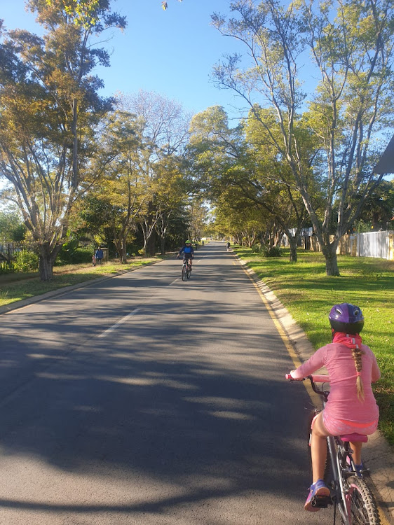 Cyclists enjoying being outdoors in Honeydew, Johannesburg.