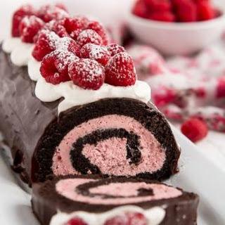 Raspberry Chocolate Swiss Roll.