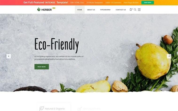 лучший бесплатный сайт шаблона темы ботстрапа экологически чистые органические продукты