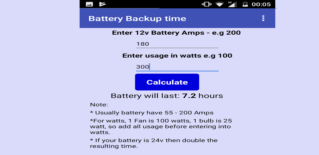 Download UPS Battery Backup Time Calculator Latest Version | ApkCC com