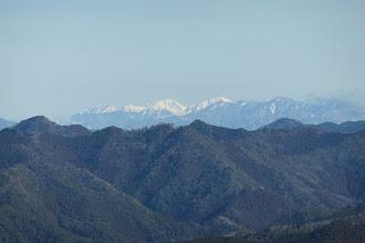 南アルプス(左から大沢岳・赤石岳・聖岳・光岳、光岳は雪がない)