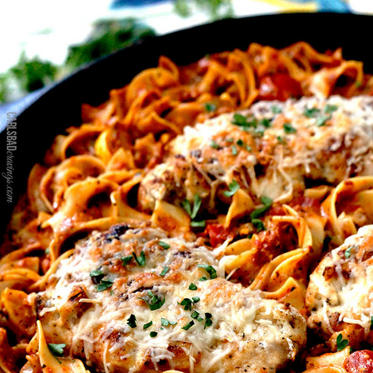 Creamy Sundried Tomato Pesto Pasta (with Parmesan Chicken Option) Recipe