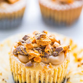 Butterfinger Cheesecake Cupcakes.