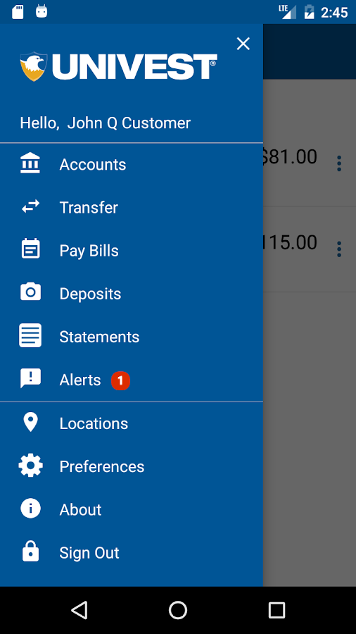 Univest Mobile  Banking- screenshot