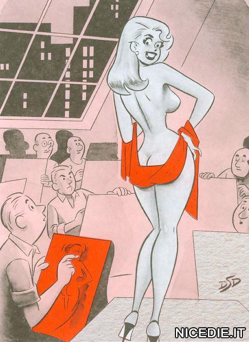 una modella nuda ad un corso di pittura. ha un velo che tiene sul lato b. gli allievi sul lato a sono intenti a disegnare, quelli sul lato b vedono il colore rosso del velo (la tela è tutta rossa)