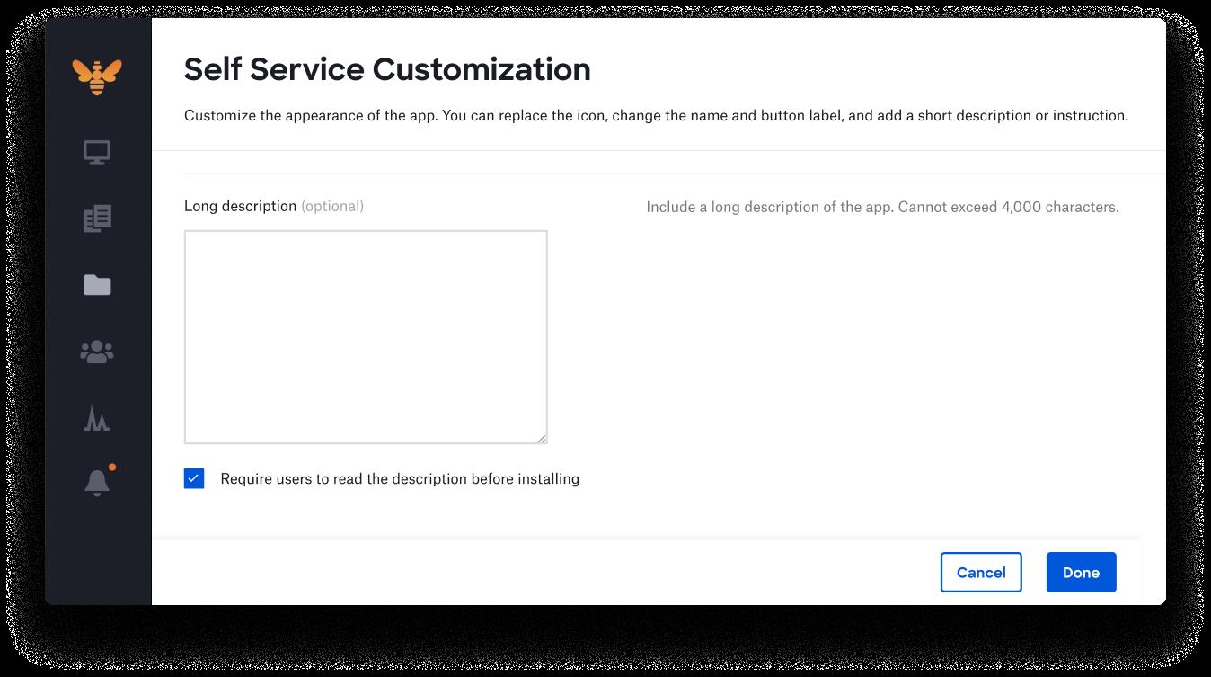 self service mac require users to read description