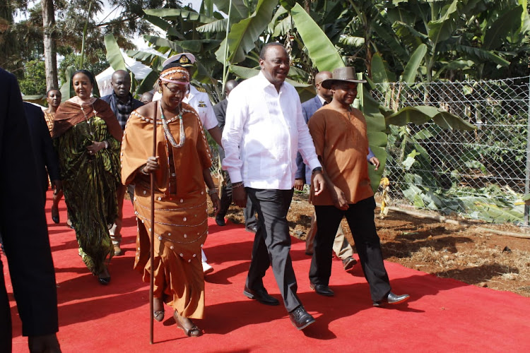 President Uhuru Kenyatta, Murang'a Woman Rep Sabina Chege and Sports CS Amina Mohammed arrive