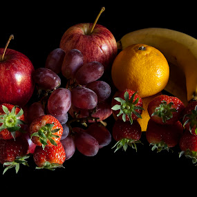 Fruit Salad by Russell Mander - Food & Drink Fruits & Vegetables ( reflection, fruit, strawberries, apples, orange b, colours, grapes )