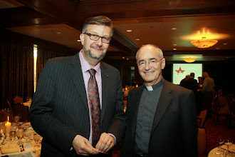 Photo: Andreas Widmer, Catholic University of America, Dr Michael Czerny S.J.  (Photography/Gary Fountain, March 31, 2014)The cocktail reception for the 2014 Business Ethics Conference for Deans of Catholic Schools of Business, at the Houstonian.