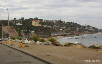 Photo: (Year 3) Day 30 - As We Approached Santa Monica (the Getty Mansion is the Large Building)