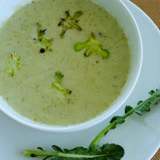 Broccoli Tahini Soup with Broccoli Chips.