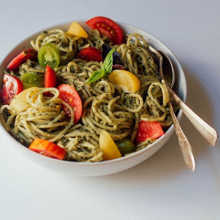 Creamy Pesto Pasta with Fresh Tomatoes.