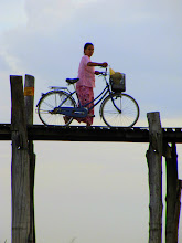 Photo: Year 2 Day 55 - Cyclist on U Bein's Bridge