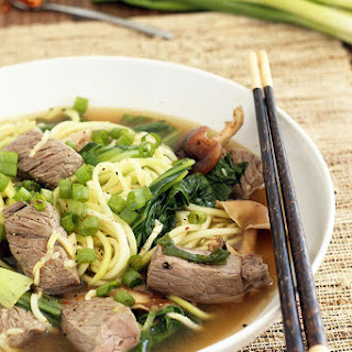 Beef Noodle Soup with Shitake Mushrooms and Baby Bok Choy from Spiralized.