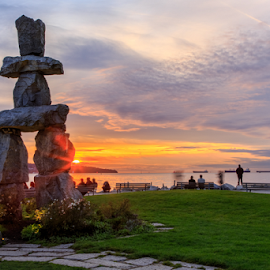 Vancouver Olympic Sunset by Briand Sanderson - Landscapes Sunsets & Sunrises ( olympic monument, canada, sunset, vancouver, british columbia,  )