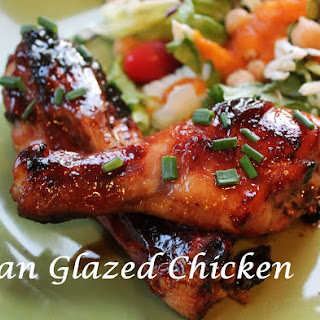 Asian Glazed Chicken Legs & Carrot Ginger Dressing