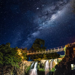 Milky way over Paronella park by Charlotte Hellings - Landscapes Starscapes ( water, milkyway, stars, waterfall, night, beauty, milky way, lights,  )