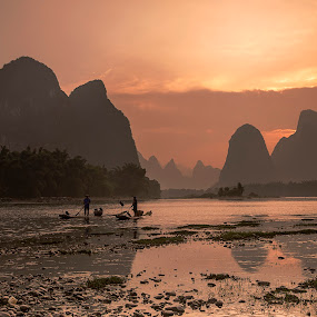 Sunset Over Li River by Sherry Zhao - Landscapes Mountains & Hills ( mountain, sunset, travel, landscape, river )