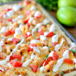 Chicken Taco Pizza with Secret Sauce.