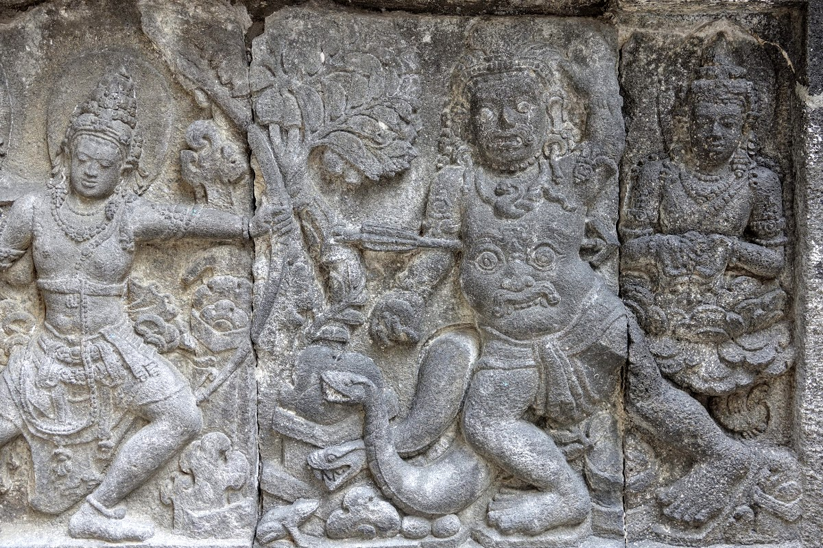 Indonesia. Yogyarkarta Pramantan Temple. Stone carving Snake Belly Face