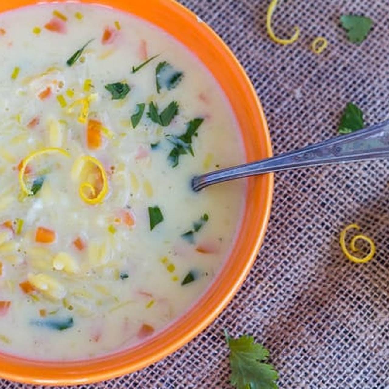 Vegetarian Greek Lemon Egg Soup  as soon as Orzo